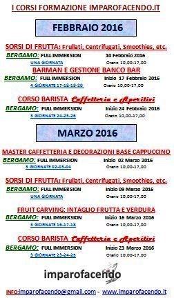 Calendario CORSI Febbraio-Marzo 2016