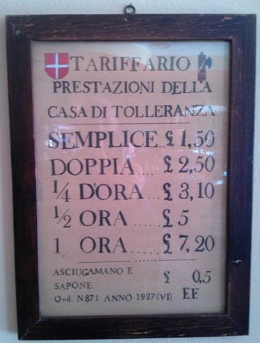 Cartello Case di Tolleranza, prezzi