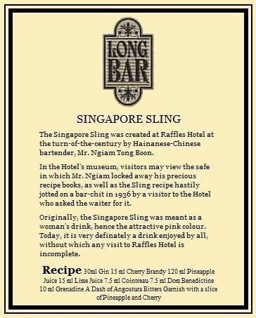 Cocktail Singapore Sling Targa