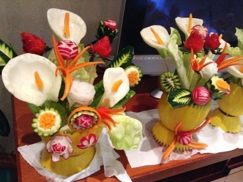 Fruit Carving Vaso fiori Primavera