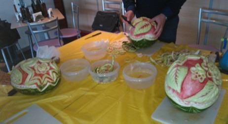 Fruit Carving durante corso Fiori su Anguria