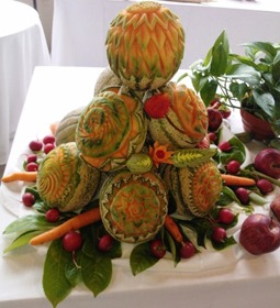 Fruit Carving meloni centro tavolaR