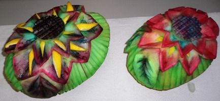 Fruit carving Melone giallo in maschera a Carnevale3