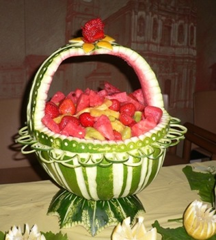Fruit Carving Centro tavola Cesto Anguria