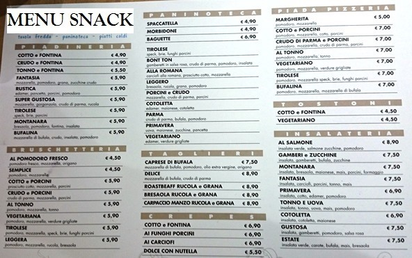Lista Menu panini snack insalate r