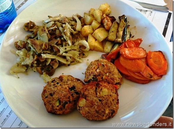 Piatto Vegetariano, polpette di verdure e verdure