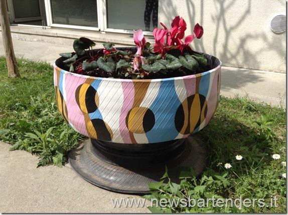 Vaso fiori con pneumatico