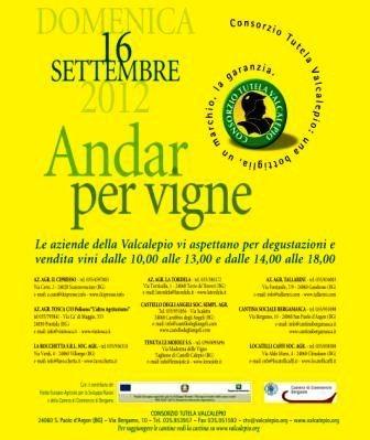 Vino Andar per vigne Valcalepio settembre 2012